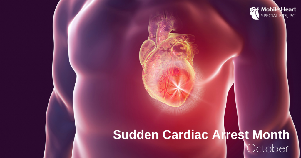 """A medical image is shown of a person's body with imaging depicting the heart organ. The text overlaid reads """"Sudden Cardiac Arrest Month October"""" with the Mobile Heart Specialists logo at the top right."""